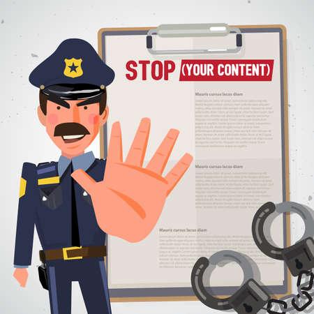 Polizist. Polizist hält Hand in der Endgeste. Charakterdesign - Vektor-Illustration Standard-Bild - 86482134