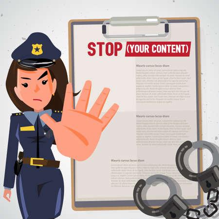 警察官。警察の女性を停止ジェスチャーで手を保持します。キャラクター デザイン - ベクトル図  イラスト・ベクター素材