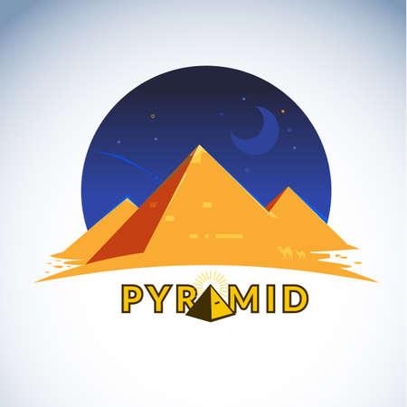 Pirámide en la noche con diseño tipográfico - ilustración vectorial