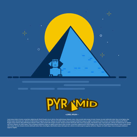 Pyramid in the night time with typographic design - vector illustration Illusztráció