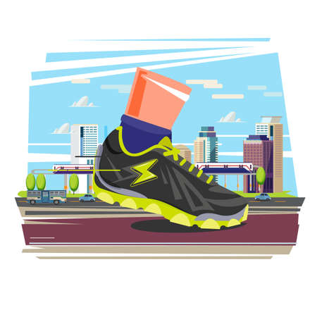 Giat running shoe with city in background. city running and sport concept - vector illustration