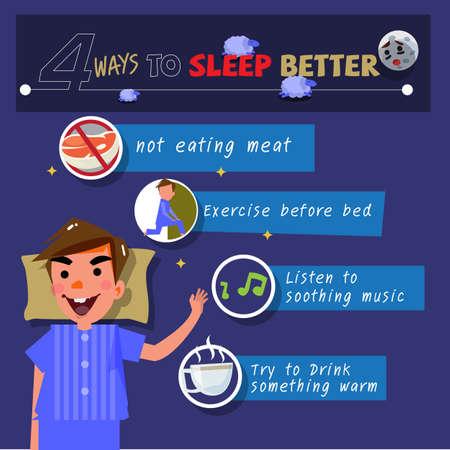 Cómo dormir mejor. infografía - ilustración vectorial Foto de archivo - 86482141