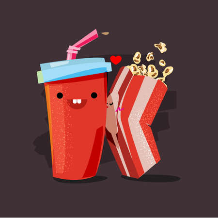 popcorn and soda. character of popcorn kissing soda cup. movie lover concept - vector illustration