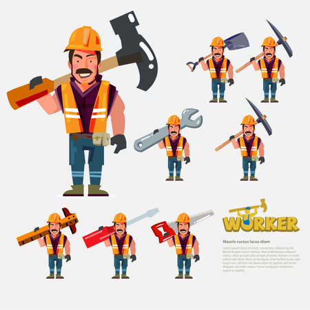 Professional worker carry work tools on the back. character design - vector illustration.