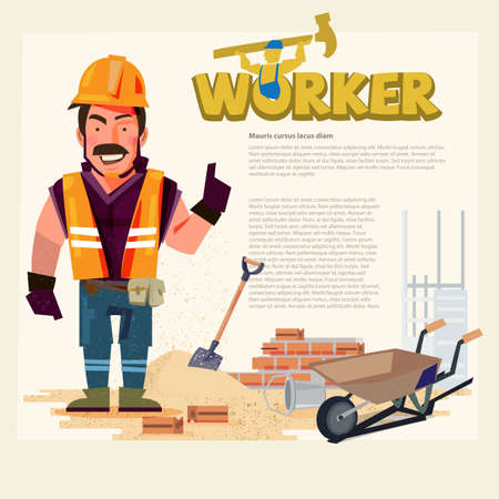 Construction workers man in presentation action to showing something. typographic. character designing - vector illustration.