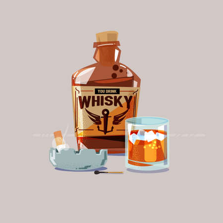 Whiskey with glass and cigarette in ashtray - vector illustration. Çizim