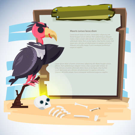 Vulture standing on branch with wood sign to presentation.character design - vector illustration. Ilustrace