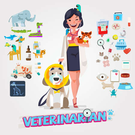 Cute Veterinarian. Character design with icon set, zoological medicine - vector illustration