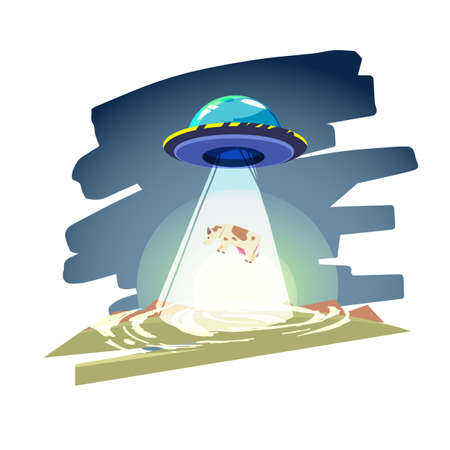 UFO spaceship with beam of light over the cow. Abduction - vector illustration