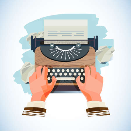 Vintage typewriter with  paper ball of idea - vector illustration