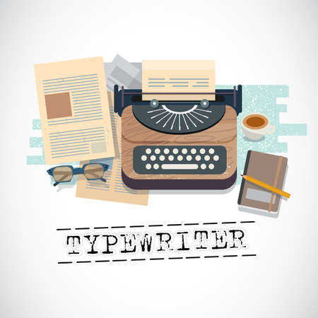 Vintage stylish typewriter with stationary and paper. typographic design - vector illustration