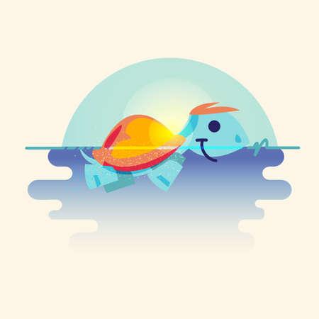 亀が日の出背景と海で泳いでいます。キャラクター デザイン - ベクトル図  イラスト・ベクター素材