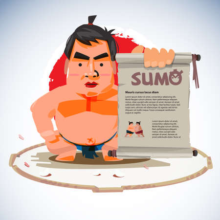 Sumo wrestler holding old vintage paper roll for presenting. traditional concept - vector illustration. Illustration