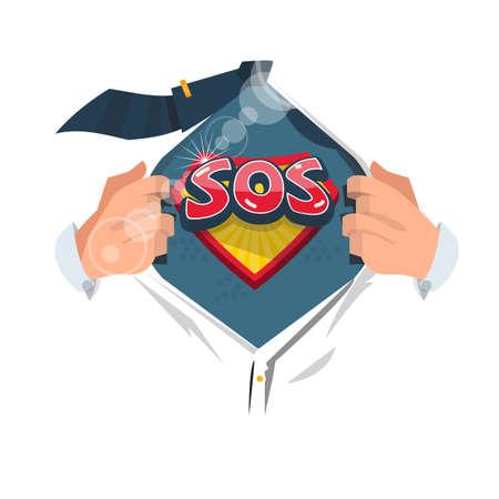 """Bemannen Sie offenes Hemd, um """"SOS Symbol"""" im komischen Art zu zeigen. das internationale Notsignal. - Vektor-Illustration. Standard-Bild - 86482158"""