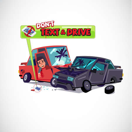 Car crash and wounded people inside with smart phone. typographic. Kills. Do not text and drive concept - vector illustration.