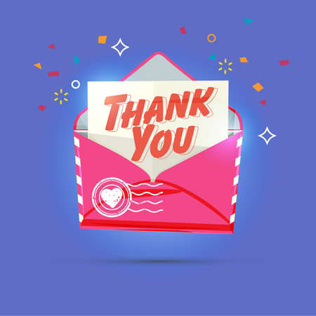 envelope with thank you text. - vector illustration