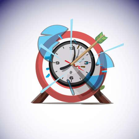 矢印の壁時計の中心を打ちます。成功時間の概念 - ベクトル図