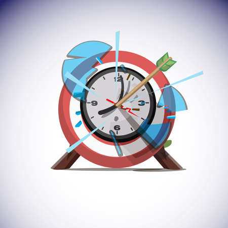 arrows hitting the center of wall clock. Success time concept - vector illustration Ilustração