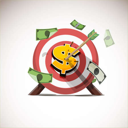 arrows hitting the center of money icon - vector illustration Çizim