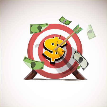 Frecce che colpiscono l'icona del centro di denaro - illustrazione vettoriale Archivio Fotografico - 86736055