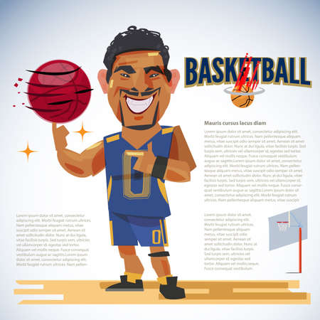 Basketball player spinning basketball on index finger with typographic design. character design - vector illustration
