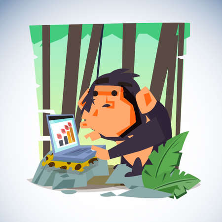 Clever monkey with laptop computer. character design - vector illustration Ilustração