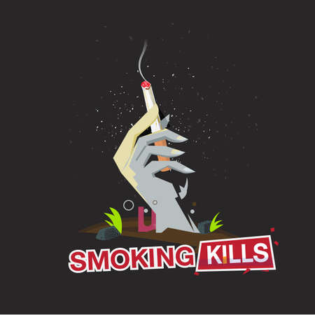 Hand of death body holding a smoking cigarette. stop smoking - vector illustration Иллюстрация