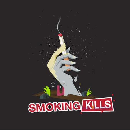 Hand van de dood lichaam met een rook sigaret. stop met roken - vectorillustratie Stock Illustratie
