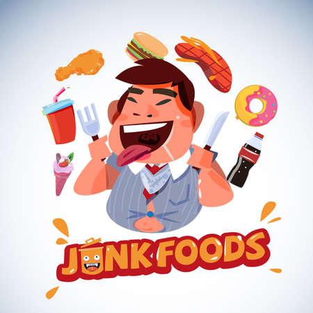 ジャンク フードと脂肪のビジネス。不健康な食品のコンセプト - ベクトル図