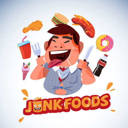 fat business with junk food. unhealthy food concept - vector illustration Illustration