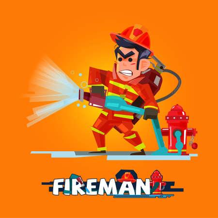 Brandweerman in actie. De brandbestrijder giet van een brandslang. Characterdesign met typografische - vectorillustratie