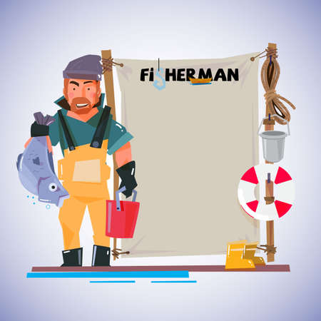 fisherman with paperboard to presenting. character design - vector illustration