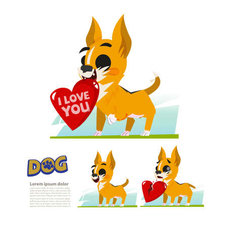 Cute tiny dog with big heart. broken hear.  love owner concept - vector illustration.
