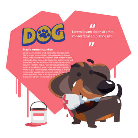 Dog holding paint brush with heart in background. love of dog concept. dachshund - vector illustration. Çizim