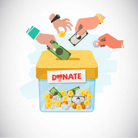 Donate box. Hand putting money to box - vector illustration.