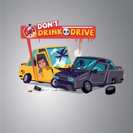 Car crash with alcohol can.  Dont Drink and drive concept - vector illustration.