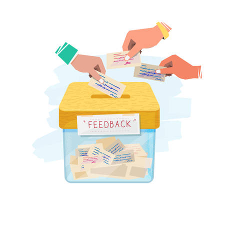 Hand inserting paper of feedback in to box. feedback and suggestion box concept - vector illustration.