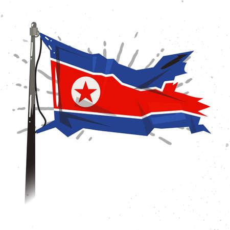 風になびかせて北朝鮮の旗