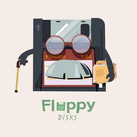 Floppy disk character design holding walking stick and old document Çizim