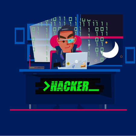 A talented hacker character design in dark room with computer codes