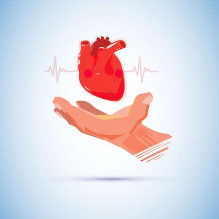 Hand with big human heart