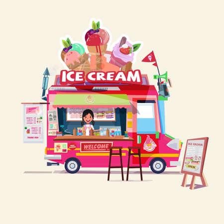 귀여운 판매자와 아이스크림 트럭입니다. 음식 트럭 개념 - 벡터 일러스트 레이 션 일러스트