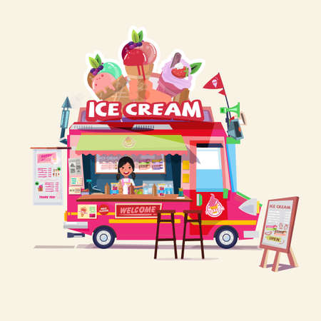 Ice cream truck with cute seller. food truck concept - vector illustration