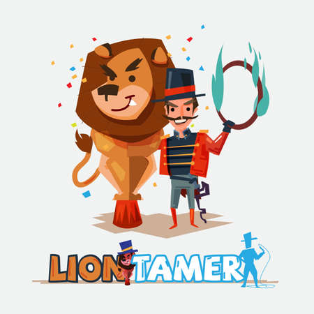 Leeuw tamer met grote leeuw. tekenontwerp - vectorillustratie