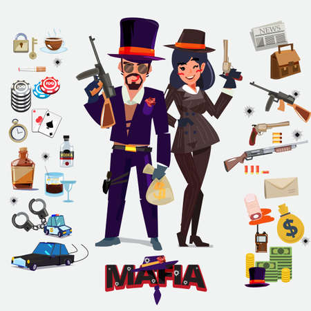 Mafia character design, male and female with icon set. underground gangster concept - vector illustration Illustration