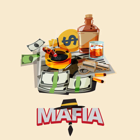 bottle of liquor, cigarette on ashtray, newspaper, gun with bullet, money. mafia and gangster concept - vector illustration