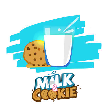 Glass of milk and cookies with typographic for header design - vector illustration Illustration