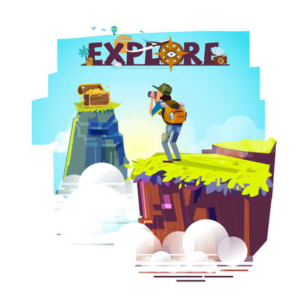 Explorer man with binocular on top of the mountain looking for treasure. backpacker character. adventure and explore concept. typographic for header design - vector illustration Illustration