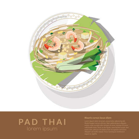 Delicious rice noodles with shrimp and vegetables on a plate. top view - vector illustration