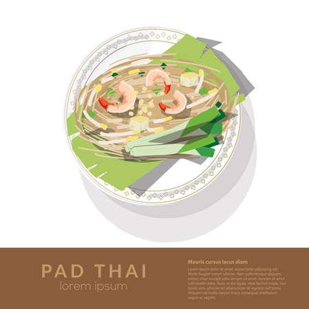 Heerlijke rijstnoedels met garnalen en groenten op een plaat. bovenaanzicht - vectorillustratie